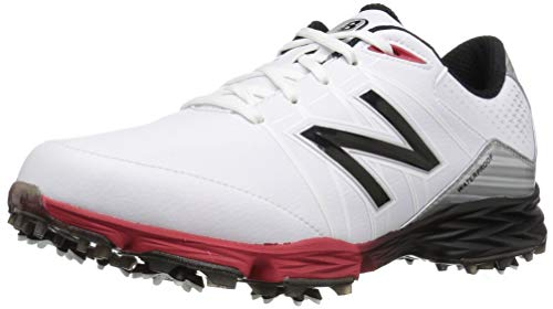 New Balance Men's NBG2004 Waterproof Spiked Comfort Golf Shoe, White/Red, 9.5 W US