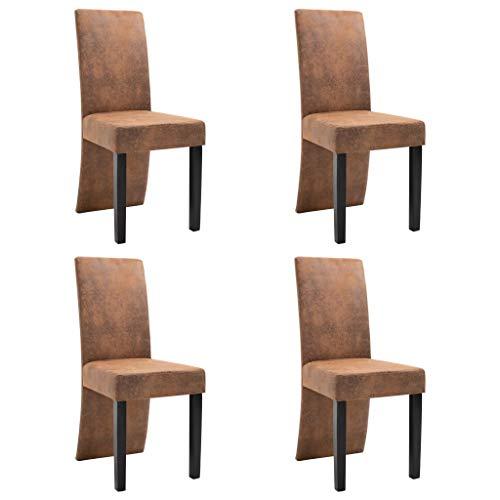 vidaXL 4X Esszimmerstuhl Küchenstuhl Hochlehner Stuhl Stühle Polsterstuhl Esszimmerstühle Sitzgruppe Lehnstuhl Stuhlset Stuhlgruppe Braun Wildleder-Optik