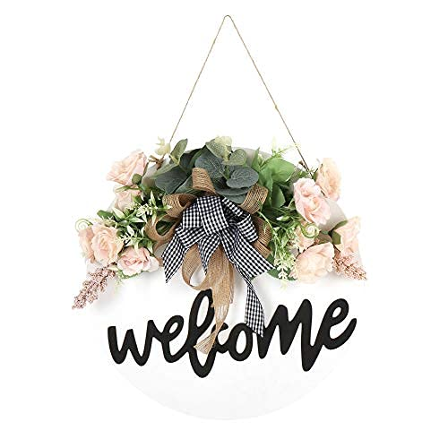 Señal de bienvenida para la puerta delantera Señal de madera redonda colgante señal de bienvenida para la granja porche guirnaldas de primavera para la puerta delantera