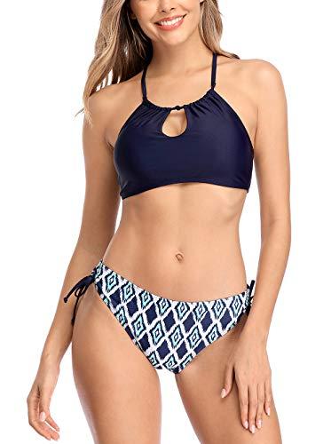 CharmLeaks Halter Swimsuits Women 2 Piece Swimwear Side Tie Bathing Suits Cutout XL