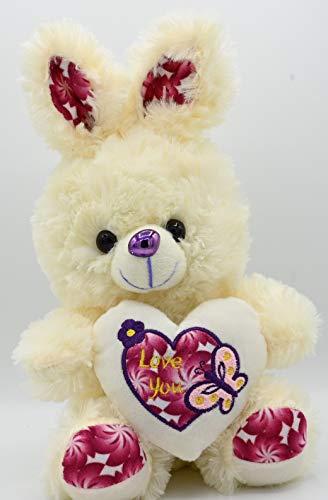 ML Oso de Peluche con Felpa Muy Suave con un Corazon de Frase de Amor - Peluche Conejo tierno 32x20cm (Rosa)