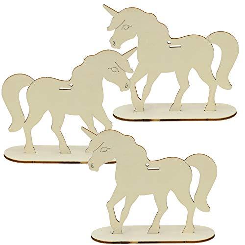 trendmarkt24 Einhorn Pony 3er Set ca. 17 cm x 16 cm x 4mm   Pferde Deko Mitbringsel Mitgebsel Bastelidee Kinder Geburtstag Geschenk Mädchen Sperrholz Zimmer Dekofigur Dekoration   4014001