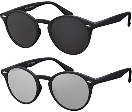 Occhiali da Sole Rotondi La Optica UV400 Vintage, Da Uomo Donna, Gommata Nero (Lenti: 1 x Grigio, 1 x Argento specchiato)
