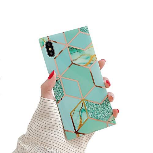 Cocomii Square Geometric Marble Marmo iPhone 8 Plus/7 Plus Custodia, Sottile Morbido TPU Silicone Bordi Quadrati del Baule Case Bumper Cover Compatible with Apple iPhone 8 Plus/7 Plus (Green/Glitter)