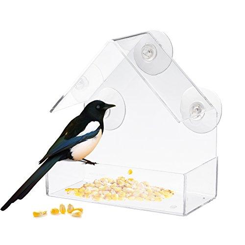 Hippicity fenêtre pour distributeur de graines pour oiseaux sauvages - 100% plastique acrylique Transparent avec 3 solide Extra ventouses inclus