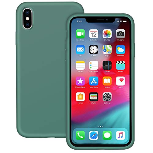 IVSUN Case for iPhone Xs Max 6.5-Inch Liquid Silicone 360 Full Protection Rubber Gel Cover Slim [ Anti-Fingerprint ] [ Scratch-Resistance ] [ Smooth Touch Feeling ] - Forest Green