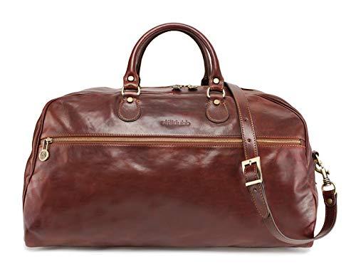 stilklubb Maria Scutti - Borsa da viaggio in pelle con personalizzazione marrone, grande bagaglio a mano, borsa sportiva, stile vintage, con chiusura lampo (54 x 35 x 27)