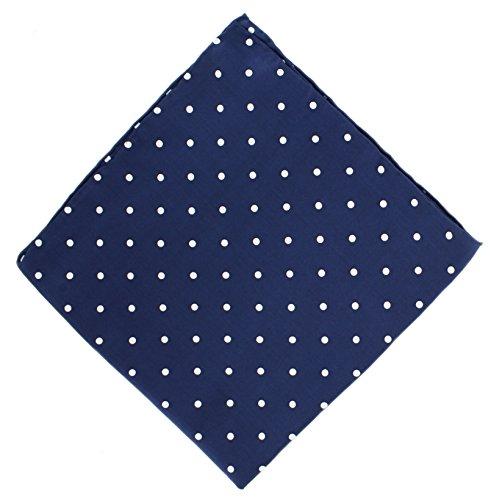 Mouchoir bleu marine à pois en soie de Michelsons of London
