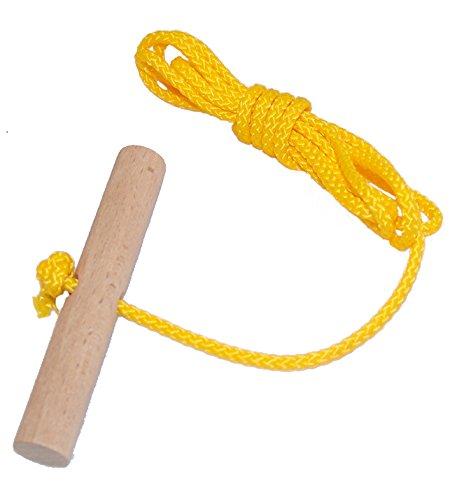 Looping-Lu Schlittenseil mit Holzgriff aus Buchenholz 1 Zugseil (Gelb)