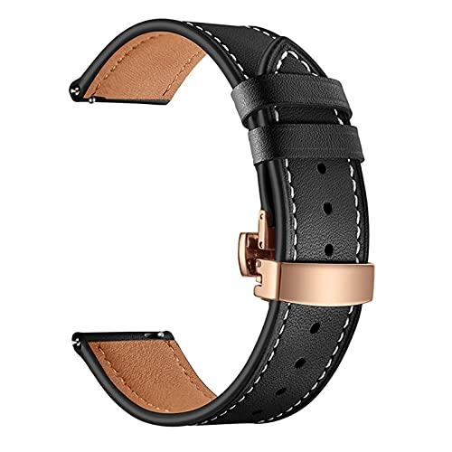 PAZHOU Correa de piel con cierre de mariposa rosa de 22 mm para Samsung Galaxy Watch 46 mm Active Bracelet Correa para Gear S3 Classic (color de la correa: negro, ancho de la correa: para Gear S3)