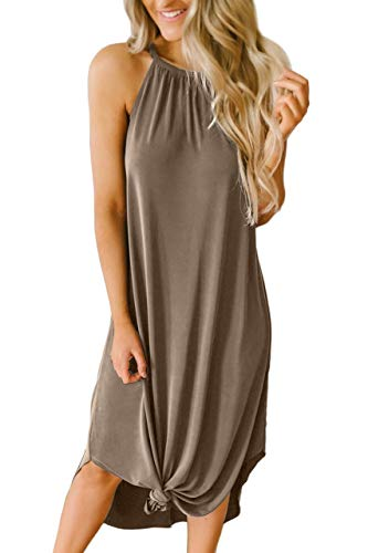 Women Halter Maxi Long Dresses Summer Casual Side Slit Loose Beach Sleeveless Cover Up Khaki L