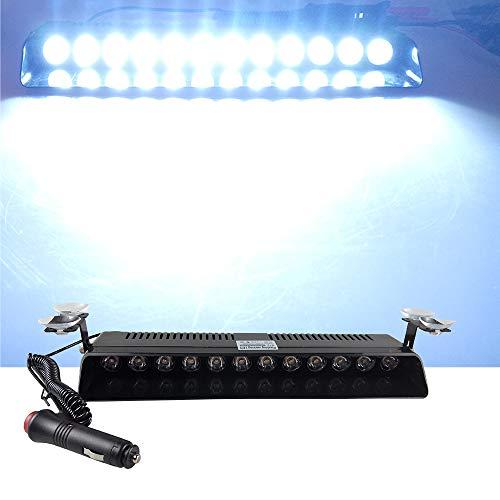 12V Car Truck Emergency Strobe Flash Light Sucker Dashboard Interior Windshield Warning Light Bar Current (12LED, white)