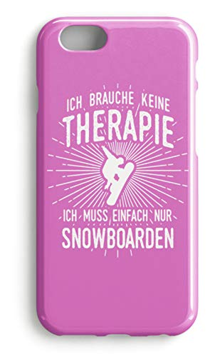 shirt-o-magic Handyhülle Snowboarder: Therapie? Lieber Snowboard - Case -iPhone 7 Plus-Pink