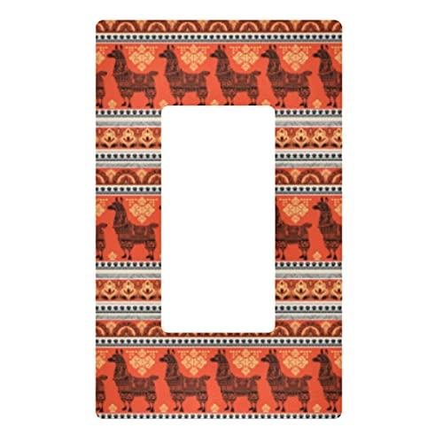 Placa decorativa de pared con interruptor de luz – Linda alpaca Llama Animal Outlets Switch Plate Cover 3 Gang tomas de corriente eléctrica para dormitorio, cocina, decoración del hogar