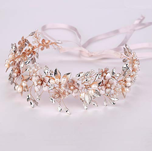 Oriamour Wedding Headband Bridal Headpiece Flower Design With Genuine Freshwater Pearls And Ribbons Hair Accessories For Bride (Rose Gold)