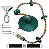 Kids Tree Swing Climbing Rope with Foot Hold Platforms,Disc Tree Swing Seat,and Hanging Kit with Tree Strap - Outdoor&Indoor Swings and Swing Set Accessories - Rope Swing,Green