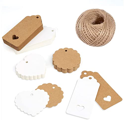 (200 PCS) Etiquetas de regalo de papel Kraft, decoración para manualidades y Navidad, tarjetas de recuerdo de boda, etiqueta de regalo, etiqueta de bricolaje, etiquetas de equipaje, etiqueta de precio