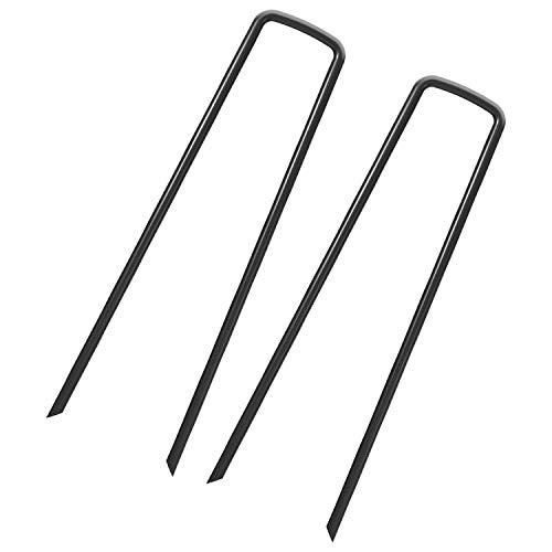 100 Erdanker - 150mm x 25mm x 3,0mm für Unkrautvlies, Erdnägel aus Stahl im Set zur Befestigung von Unkrautflies, Unkrautfolie, oder fürs Camping - Erdpieß, Erddübel, Bodenanker(gardenstaple_B_100_UK)