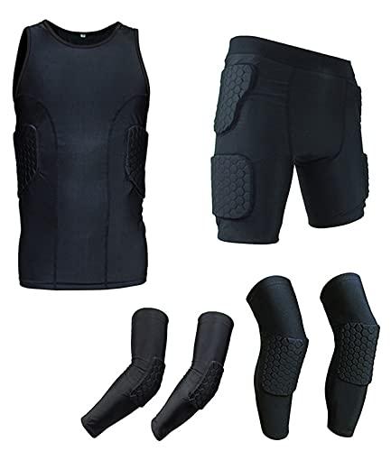 YANGLIXIA Anti-Collision Sleeveless Hemd Shorts Weste Knie Pad Ellbogen 6-teiliges Beschützer Set, Herrenschutzanzüge Gepolsterte Kompressionstraining Uniform Black-L