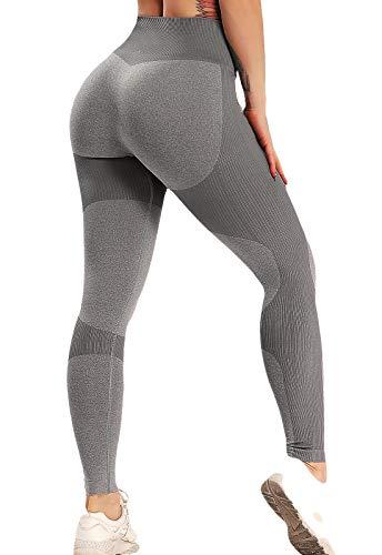 FITTOO Leggings Sin Costuras Mujer Pantalon Deportivo Alta Cintura Yoga Elásticos Fitness Seamless #1 Gris Small