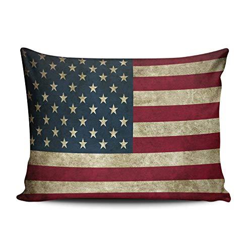 Funda de almohada cuadrada con cremallera de estilo retro de felpa con diseño de bandera de EE. UU. con un lado impreso de 20 x 36 pulgadas