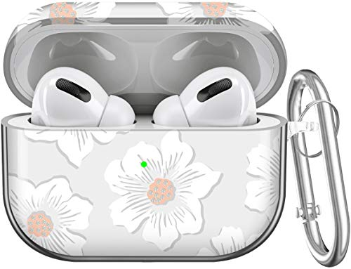 Maxjoy Compatible AirPods Pro Case Cover, Clear Flower Cute Protective Case with Keychain Hard Shell Shockproof Cover for Women Girls Men Compatible with Apple AirPods Pro 3 Charging Case, Hollyhock