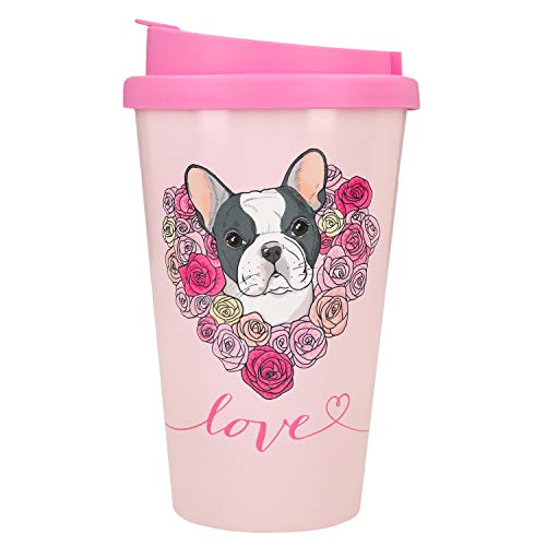 Depesche 2180.005 to-Go Becher aus Kunststoff mit Spruch, 350 ml, Love mit Französischer Bulldogge, Mehrfarbig