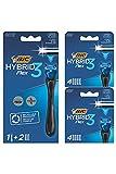 BIC Hybrid 3 Flex - Kit de Maquinilla para Hombre Recargable, Mango Plástico Reciclado, 10 Recambios de 3Hojas, Banda Lubricante - Caja de 1+10
