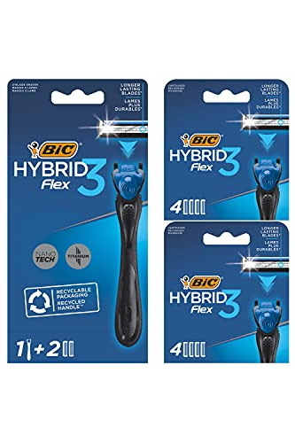 BIC Hybrid 3 Flex Rasierer Herren, Nassrasierer mit 10 Wechselklingen mit je 3 Klingen, mit Aloe Vera & Vitamin E, aus recyceltem Material