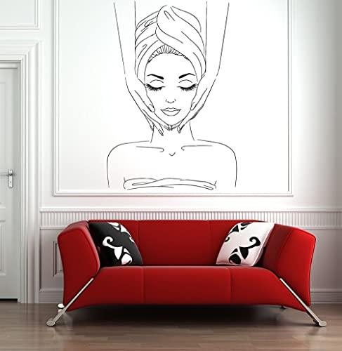 HGFDHG balneario belleza masaje pared pegatinas decoración hogar vinilo pared pegatinas para salón de belleza ventana pegatinas ilustraciones