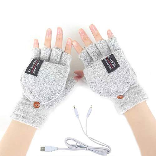 Women's & Men's USB Heated Gloves Knitting Hands Full & Half Heated Fingerless Heating Warmer with Button Washable Design, Mitten Winter Hands Warm Laptop Gloves (Gray)