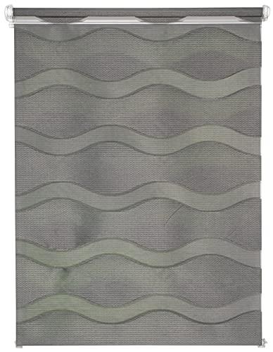 Estor doble Wave a medida, persiana enrollable, fijación sin agujeros, con soportes de sujeción, color gris oscuro, ancho: 51-60 cm, largo: 161-220 cm