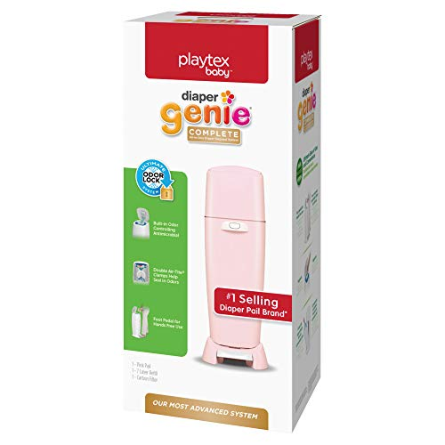 Playtex Diaper Genie Complete Pail with Built-In Odor Controlling Antimicrobial, Includes Pail & 1 Refill, Pink