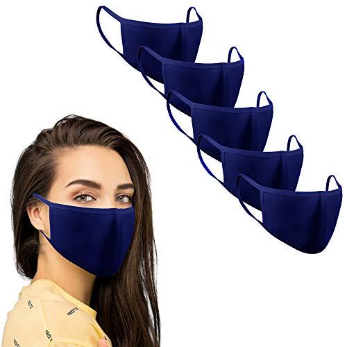 KUNSTIFY 5 pezzi mascherina in tessuto protezione bocca viso | lavabile riutilizzabile in cotone protezione bocca uomo donna mascherine bambini antigoccia Maschera face mask blu