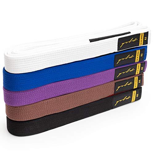 Gold BJJ Jiu Jitsu Belt - Premium Heavyweight Belts with Rank Bar for Stripes - White, Blue, Purple, Brown, Black - A0, A1, A2, A3, A4, A5 (White, A1)