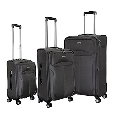 Magari Luggage 3-Piece Sets Expandable Lightweight 4 wheels Spinner Trolley Suitcase (Grey)