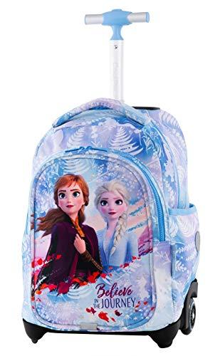 COOLPACK Frozen EISKÖNIGIN Trolley Rucksack mit Teleskopgriff Schulrucksack Kinder-Rucksack auf Rädern 24L Koffer Anna ELSA Lizenz + Regenhülle Neon