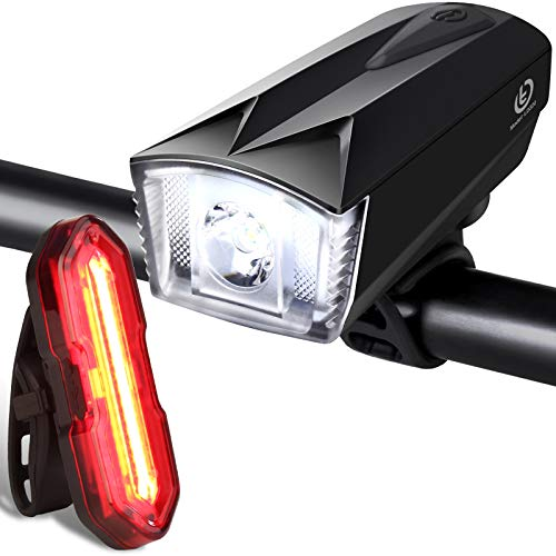 Techole Bike Light Set, Rechargeable Bicycle Lights with 300LM Waterproof Front Headlight and 100LM Tail Light, Adjustable Lighting Modes, Cycling Lights for Road & Mountain- Easy to Fit