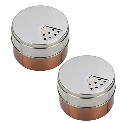 Cabilock 2Pcs Portátil de Acero Inoxidable Especiador Dispensador de Condimentos Tarros de Especias Saleros Y Pimenteros Dispensador de Condimentos de Especias de Hierbas Secas Camping