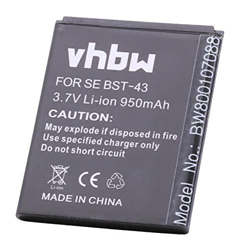 Batteria per cellulari e Smartphone SonyEricsson Mix Walkman, U100, U100i, Vulcan, WT13i, YARI sostituisce BST-43 950mAh (3.7V) vhbw Li-Ion