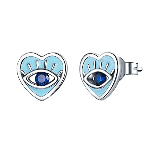 Pendientes De Ojo De Diablo De Plata, Circonita Azul Mítica Occidental En Forma De Corazón, Pendientes De Plata De Ley 925, Joyería Para Mujer, Pendientes De Botón