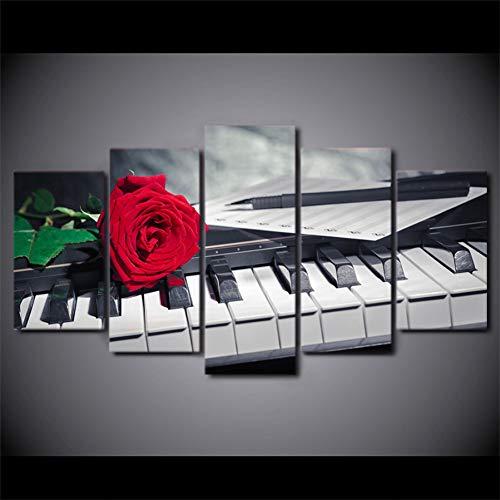 HSDVJZC HD-druk, 100 x 55 cm, HD gedrukt, 5 stuks, canvas, kunst, piano, knoppen, roze, muziek, wandfoto's, wooncultuur, woonkamer, modern