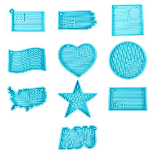 10 estilos de la bandera del día de la independencia, llavero, forma de resina epoxi, llavero, pendientes, molde de silicona, DIY, artesanía, joyas, herramientas, resina, moldes de anillo