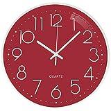 TOPPTIK Reloj de pared – 12 pulgadas moderno reloj digital silencioso sin tictac, funciona con pilas, reloj de pared redondo fácil de leer, decorativo para sala de estar, cocina, oficina(rojo)