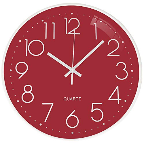 TOPPTIK Moderno Orologio da Parete Digitale 30 cm qualità orologio da parete a batteria senza ticchettio, rotondo decorativo per cucina, ufficio, camera da letto, soggiorno… (Rosso)