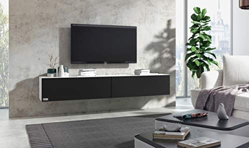 Wuun® TV Board hängend/8 Größen/5 Farben/160cm Matt-Schwarz/Front: Weiß-Matt/Lowboard Hängeschrank Hängeboard Wohnwand/Hochglanz & Naturtöne/Somero