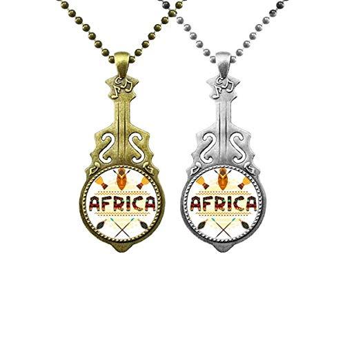 Afrika Fancy Text Totem Zeichen Musik Gitarre Anhänger Schmuck Halskette Anhänger Paar
