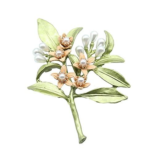 Pintar broche joyería verde perla tachonada de diamantes broche de flor pin temperamento broche accesorios collar pin