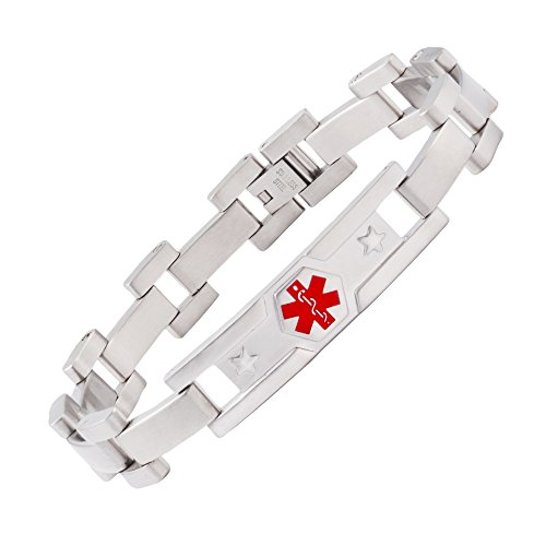%20 OFF! linnalove The Men's Type 1 Diabetes Bracelets Comfortable Stainless Steel Solemn Star Medic...