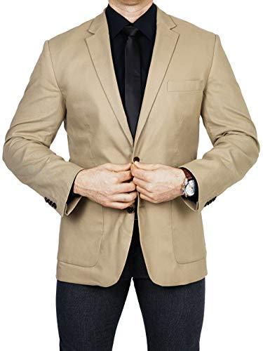 bonprix Herren Sakko untersetzt Comfort Fit Leinen-Mix Übergröße Blazer Zweiknopf Jackett Anzug Langgröße bequem Spezialgröße, Größe 26, beige